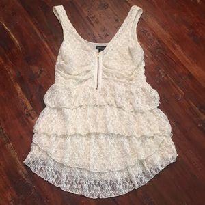Ivory lace ruffle top